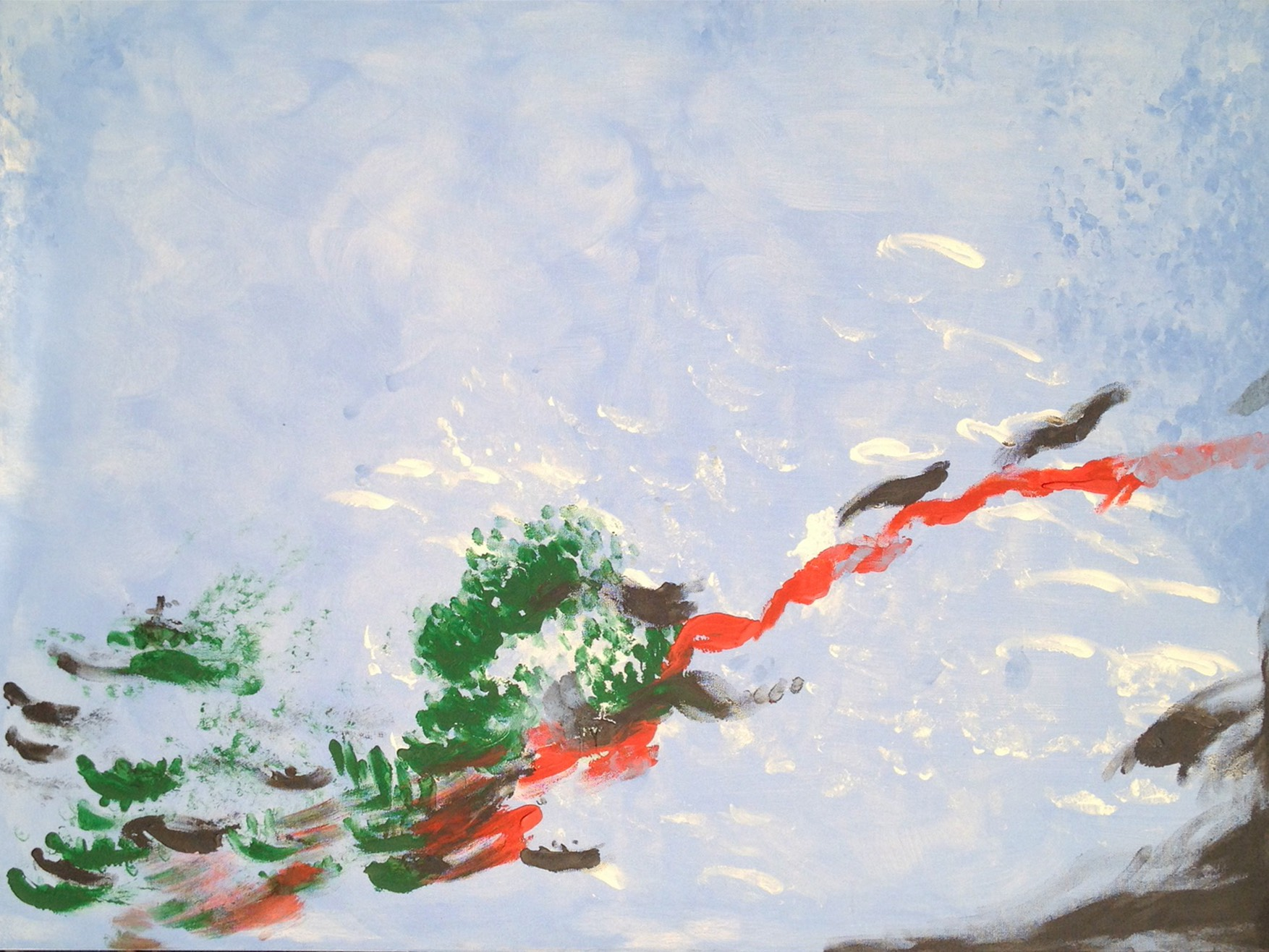 Origin is landscape size and was the first painting Laura did. Some people think they see birds carrying a red ribbon across a sky with some tree branches attached.