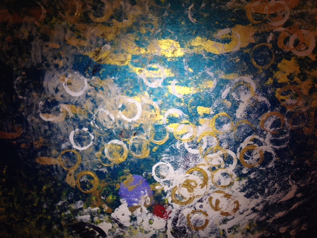 Heart of the Ocean is a landscape orientation abstract depicting a swirl of undersea life complete with bubbles and what some people see as a heart resting on the bottom.