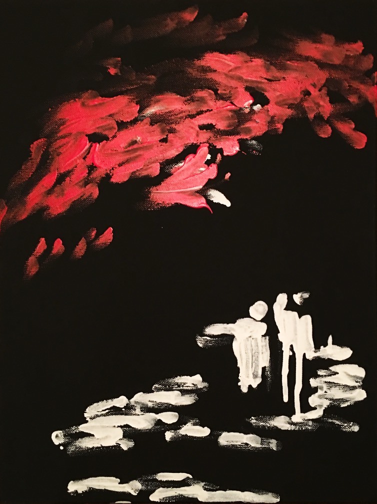Escape is a stark portrait oriented abstract where some people see a metaphorical red sky with stark white images of two people along a seaside on the bottom.