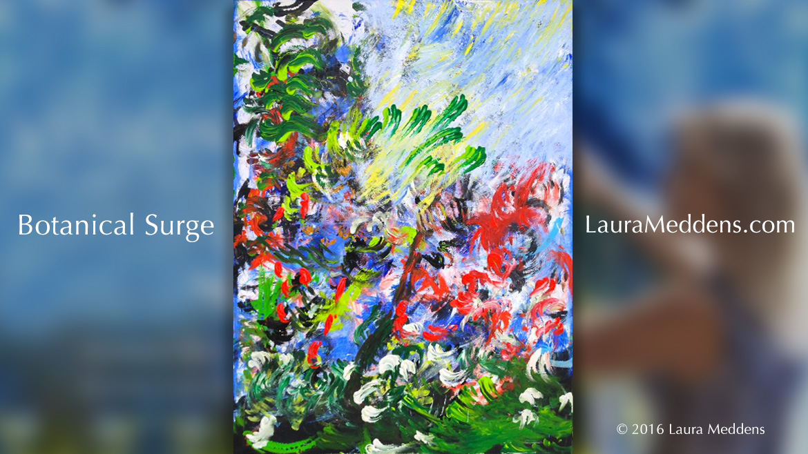 Laura's painting Botanical Surge is set against a blurred background of her main logo banner. It's a vertical orientation with a vibrant splash of red and purple in the middle with accompanying green leaves and white flowers set against a light blue background.