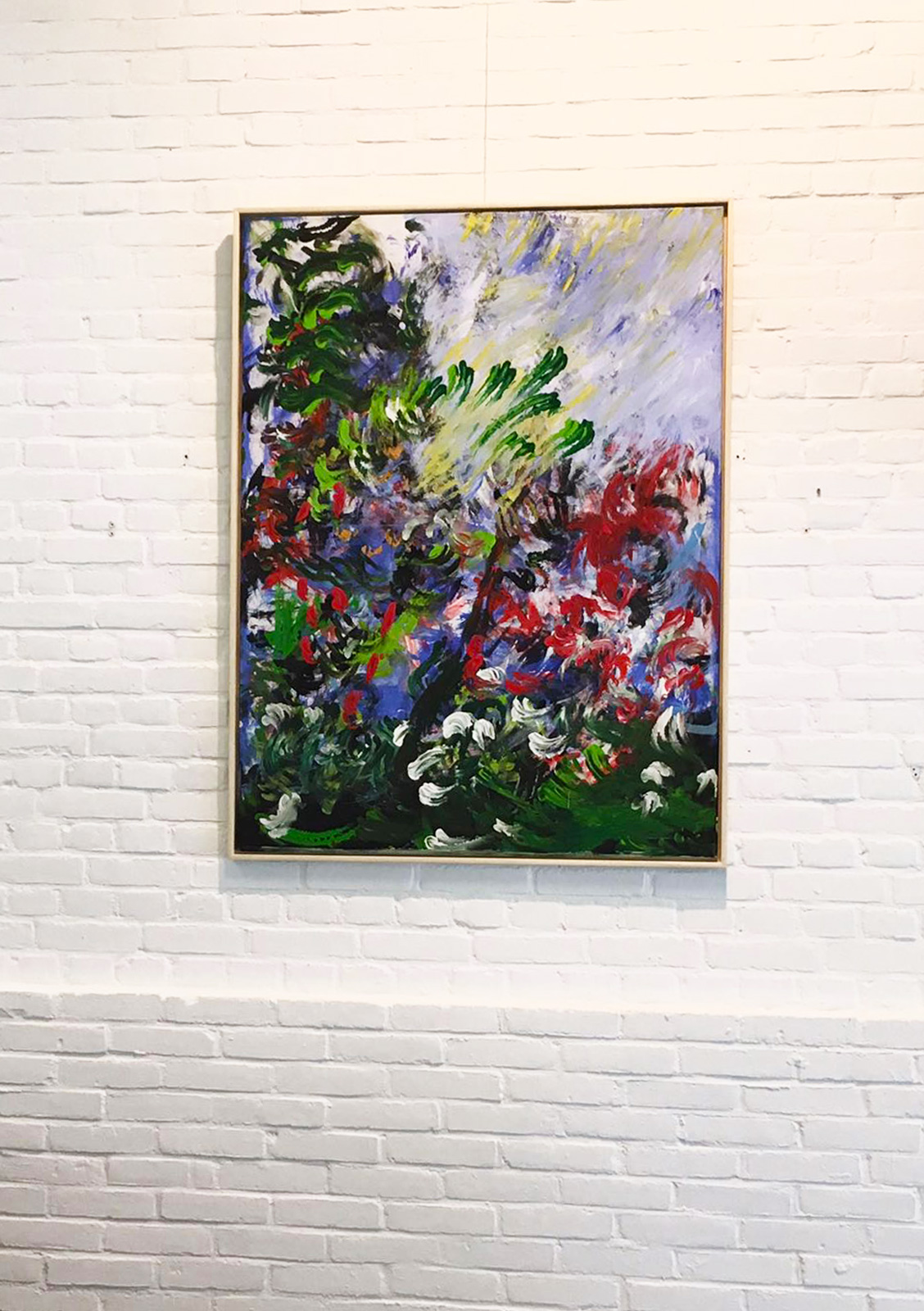 Laura Medden's painting 'Botanical Surge' hanging at the Open Ateliers Oost exhibition at the SBK Gallery in Amsterdam.