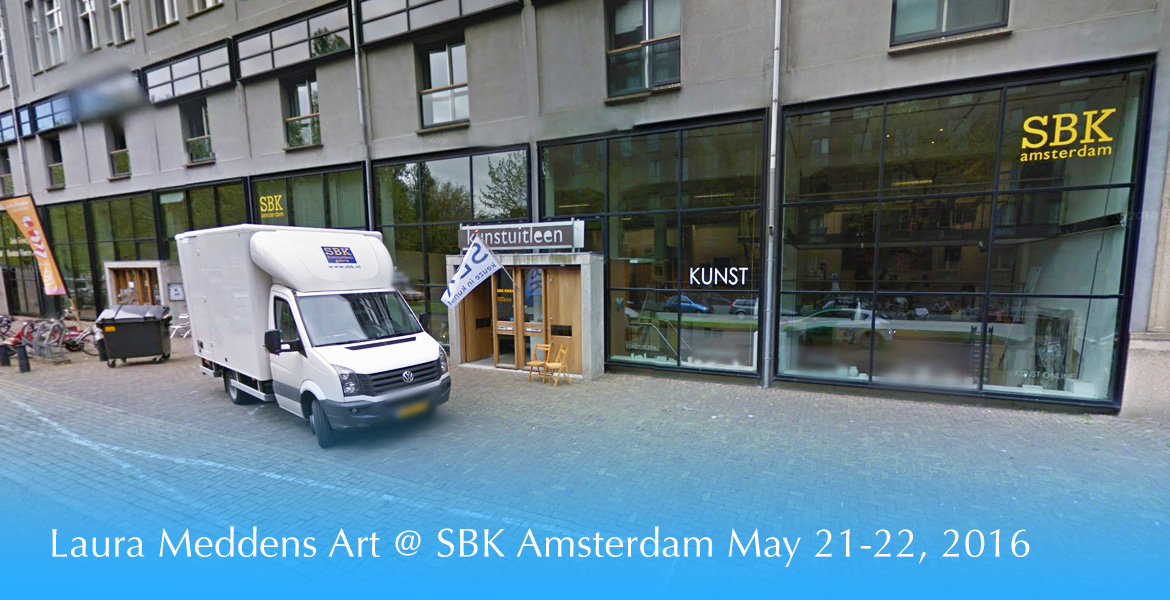 Banner shows the front of the SBK Amsterdam gallery. The headline reads: Laura Meddens Art @ SBK Amsterdam May 21-22, 2016.