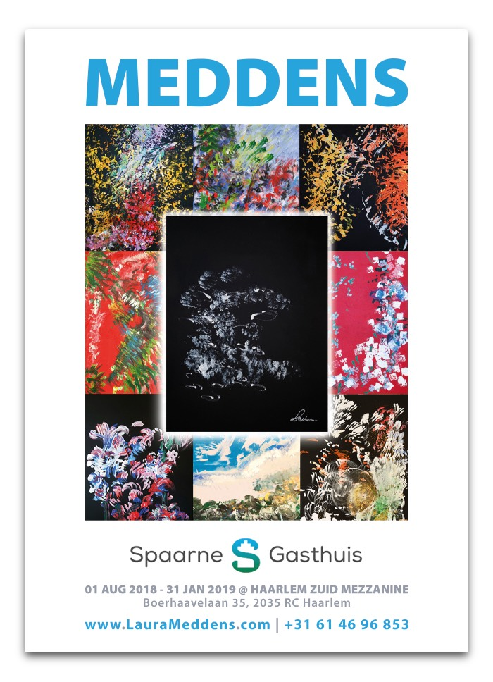 MEDDENS. Spaarne Gasthuis 01 August 2018 to 31st of January 2019 at Haarlem Zuid Mezzanine, Boerhaavelaan 35, 2035 RC Haarlem. www.LauraMeddens.com | +31 61 46 96 853. Image: Mosaic of paintings by Laura Meddens.