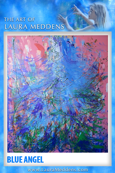 New work Blue Angel shows a blue form with multiple colors near the bottom in front of a pink background with tactile lines forming what appear to be wings.