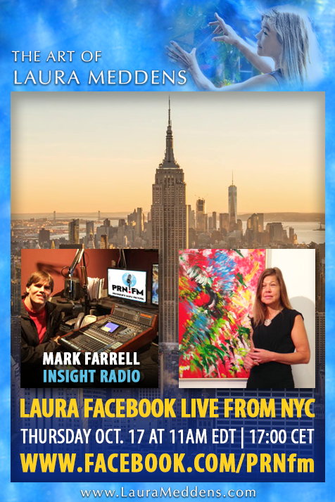 "Image Description: Laura's Facebook Module frames a photo of Mark Farrell in the studio, and a photo of Laura standing beside her painting ""Tropical Splash"" at an exhibition. Both photos are set against a backdrop photo of the New York City skyline with the Empire State Building in the foreground."