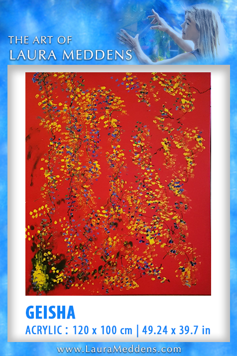 Geisha looks like an silk fabric tapestry from the Far East with delicate branches with golden buds set against a red background.