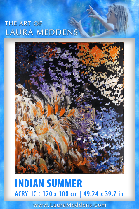 Indian Summer features vibrant swoops and swirls of paint with orange and ivory and white flanking a diagonal section of violet and blue flowers.