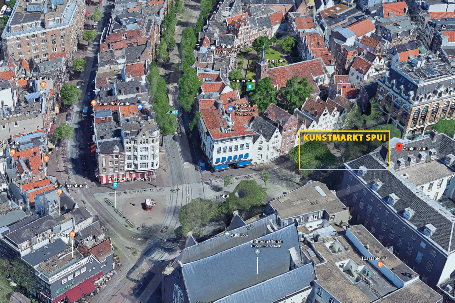 A closer aerial view of Art Plein Spui.in Amsterdam.