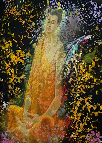 Image of Siddhartha superimposed on the painting Metamorphosis.