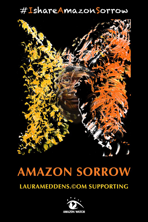 The face of another Amazon tribal leader emerges into the Amazon Sorrow poster.