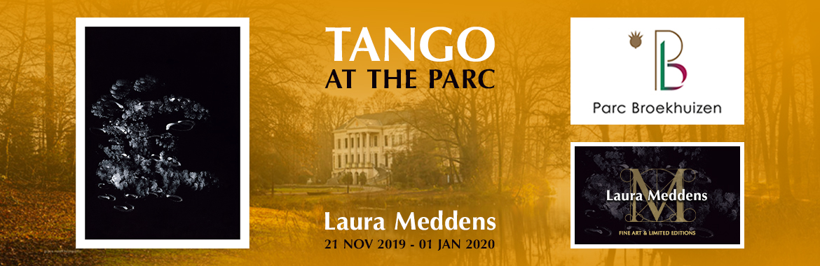 Tango at the Parc. Laura Meddens painting Tango , and the logos for Parc Broekhiuzen and Laura Meddens flank a photo of boutique hotel Parc Broekhuizen at sunset promoting her exhibition there from the 21st of Nove,ber 2019 to the first of January 2020.
