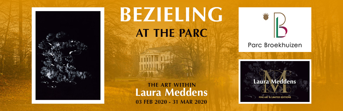 Bezieling at the Parc. The Art Within Laura Meddens. o3 February 2020 to 31 March 2020. A background photo of Parc Broekhuizen is flanked by an image of Laura's painting Tango on the left, and the logos for Parc Broekhuizen and Laura Meddens Fine Art and Limited Editions.
