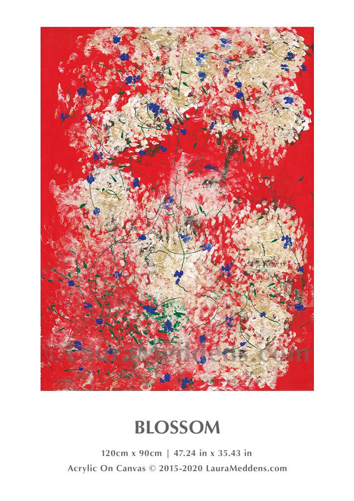 Blossom. Acrylic on canvas with what appear to be white and gold flower blossoms with what could be black pistils, with other green and blue markings set against a red canvas. 120cm high by 90 cm wide or 47.24 inches high by 35.43 inches wide.