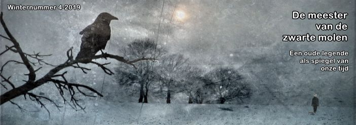 Banner from Dutch magazine Vruchtbare Aarde for their winternummer 4 edition showing a dark bird on a bare tree branch in the foreground with a winter scene in the background. Translated Dutch text reads: An old legend as a mirror of our time.