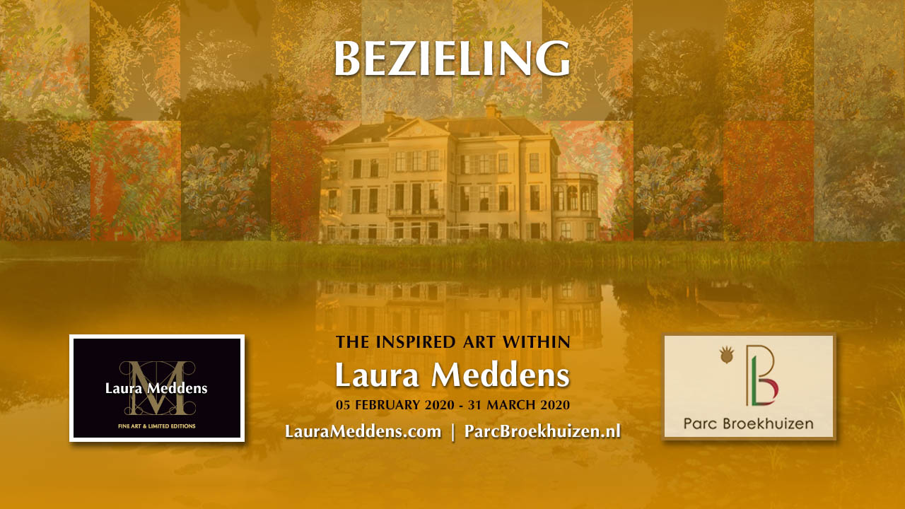BEZIELING. The Inspired Art Within Laura Meddens. 05 February 2020 to 31st March 2020. Parc Broekhuizen. A montage of Laura's paintings flanks the main house at Parc Broekhuizen overlaying a photo of the estate from the view of the rear pond.
