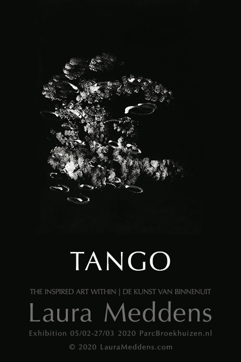 "A poster of ""TANGO"", the first finished work by Amsterdam Artist Laura Meddens. Under the painting is the title text and details of Laura's current exhibition at Parc Broekhuizen that you've likely already read in the text column preceding this."