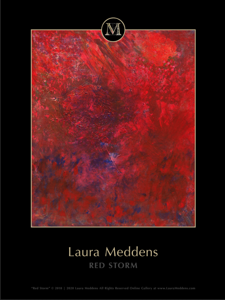 Red Storm. Churning layers of various shades of red , grey and blue give the impression of a storm soon Mars.