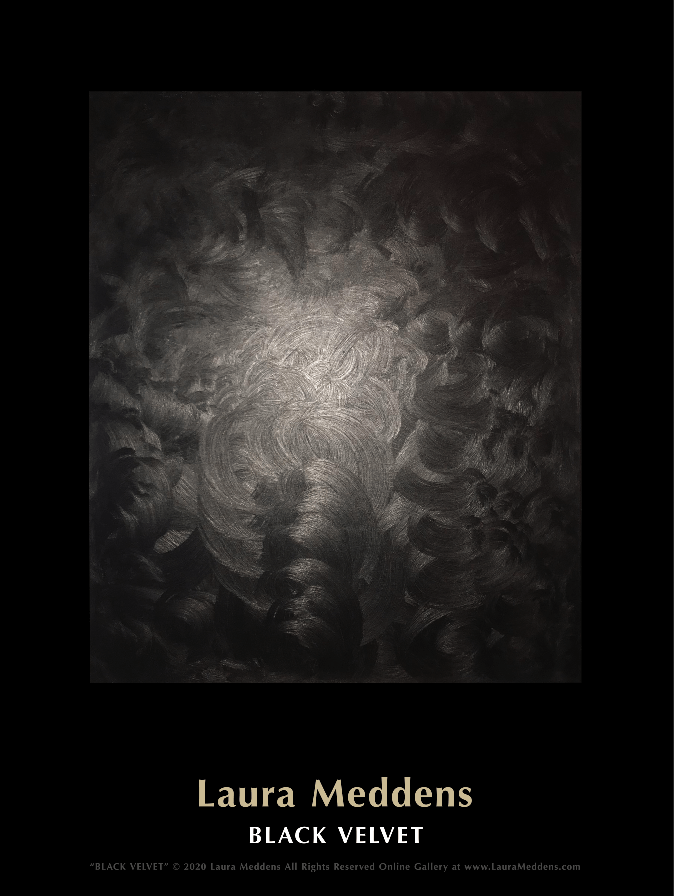 Black Velvet. Painting by Laura Meddens utilizing black, silver and white lit by a camera flash.