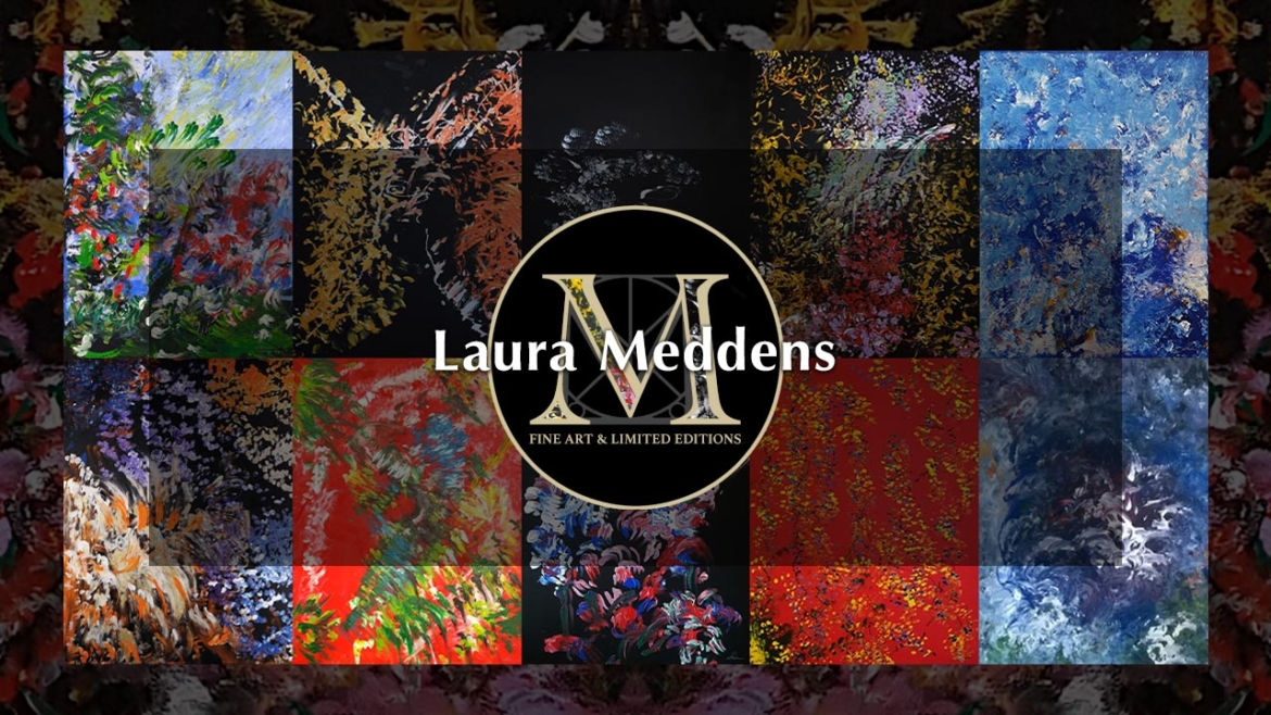 "Directory. Banner shows Laura Meddens ""M"" logo containing excerpts from her paintings in a gold-edged black circle set against a montage of some of her paintings."