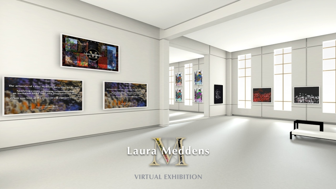 Laura Meddens Virtual Exhibition. Image shows a screenshot of Laura's online 3-D exhibition gallery featuring a number of her works.